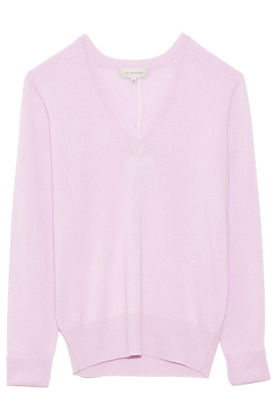 Cashmere V-Neck Boyfriend Sweater in Lavender