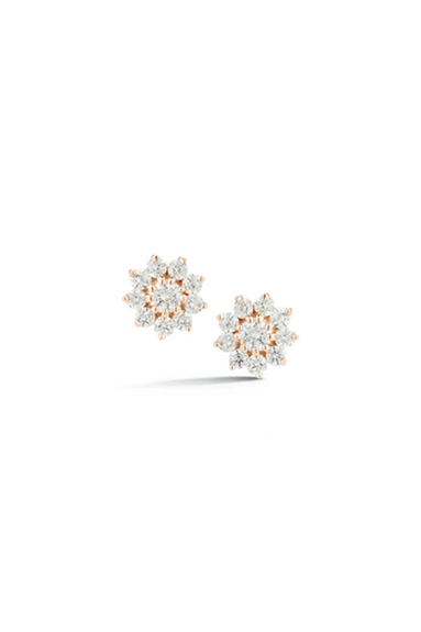 Jennifer Yamina Pointed Flower Studs in Rose Gold