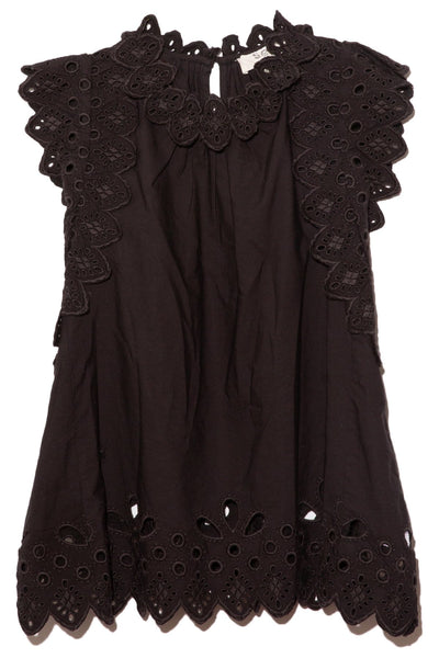 Hazel Eyelet Flutter Sleeve Top in Black
