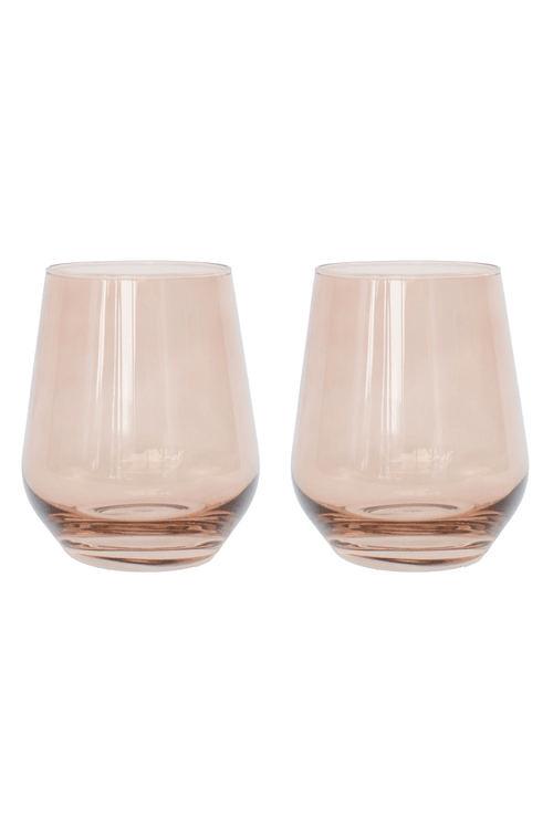 Colored Stemless Wine Glasses in Amber Smoke - Set of 2