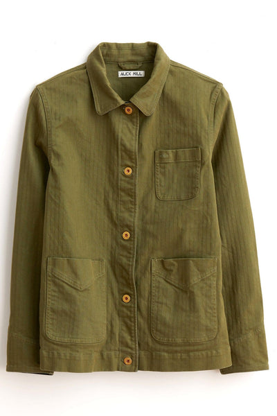 Cotton Herringbone Workers Jacket in Army Olive