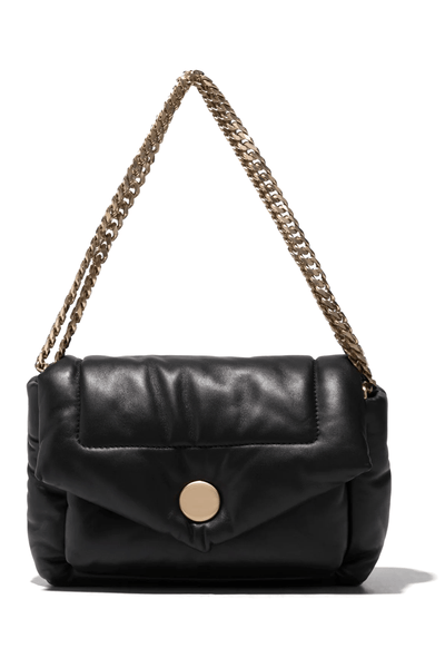 Harris Puffy Chain Shoulder Bag in Black