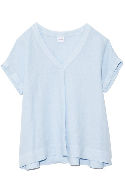 Linen V-Neck Top in Sky