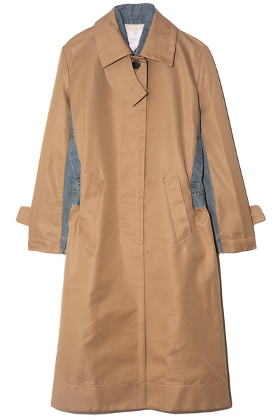 Cotton Gabardine Coat in Beige