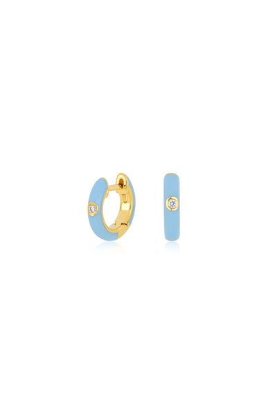 Single Diamond Baby Blue Enamel Huggie Earring in Yellow Gold