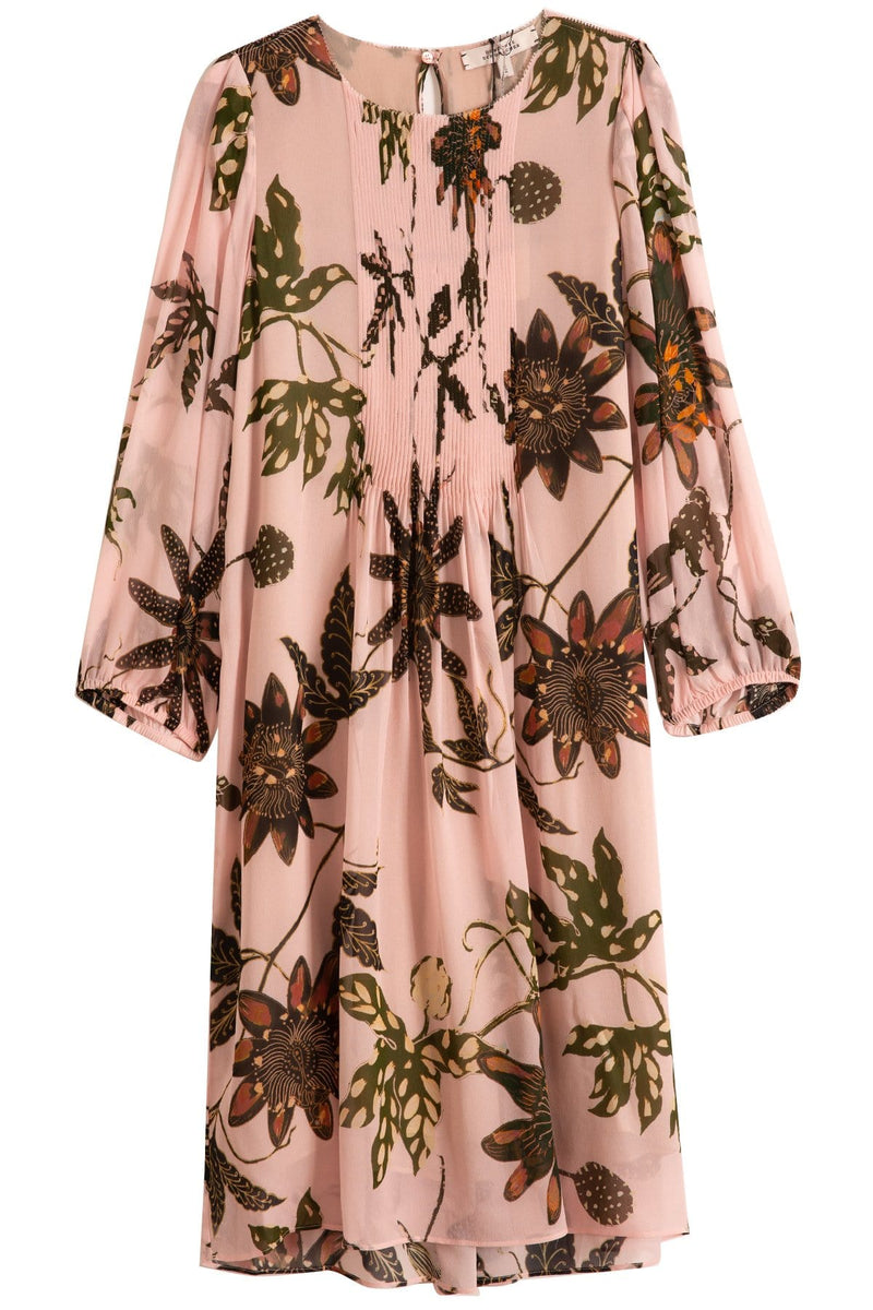Floral Transparencies Dress In Rose Passiflora Ts Hampden Clothing