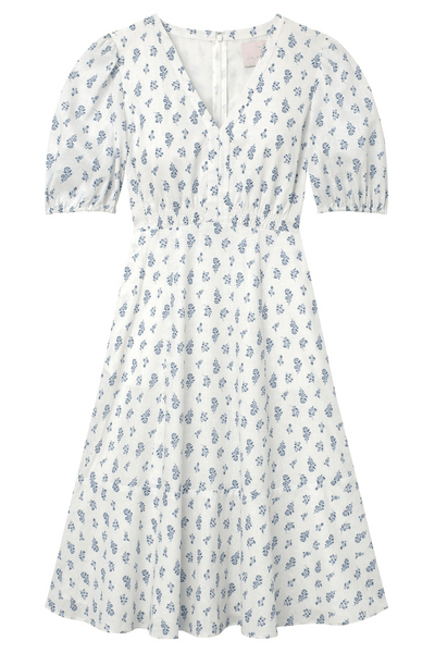 Loretta Dress in Bluebird/Ivory
