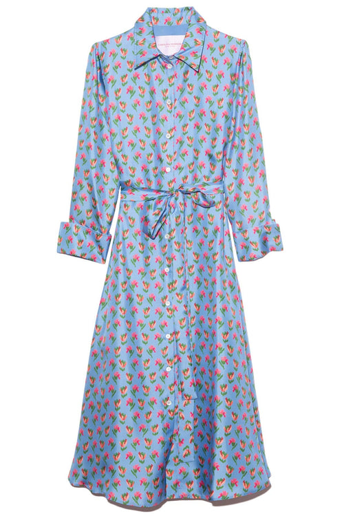 Long Sleeve Shirt Dress with Waist Tie in Azure Multi