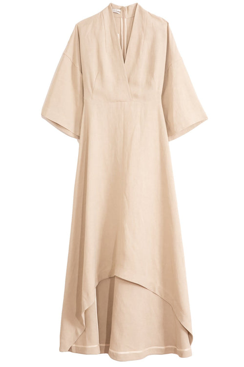 Linen V-Neck High Low Dress in Taupe