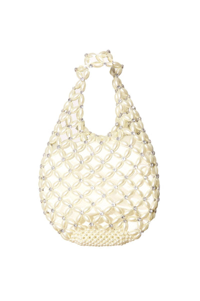 Small Beaded Shopper Bag in Pearl/Clear
