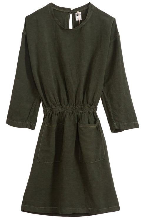 Lulyisa Drop Shoulder Dress in Moss
