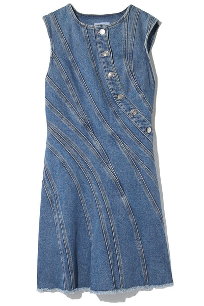 Spiral Denim Dress in Medium Blue