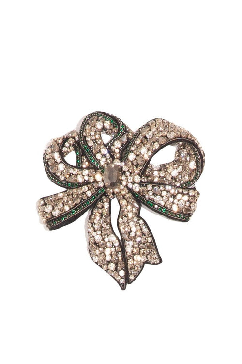 Ribbon Brooch in White/Green