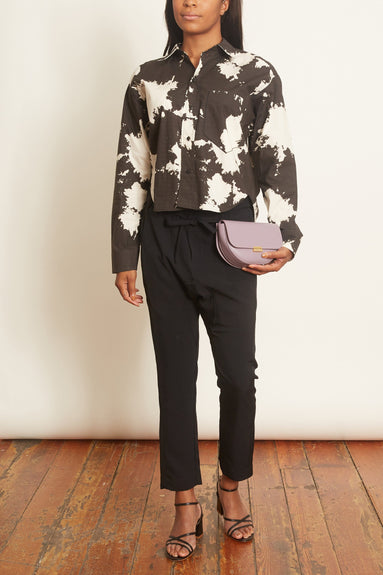 Printed Cropped Cotton Shirt in Ink