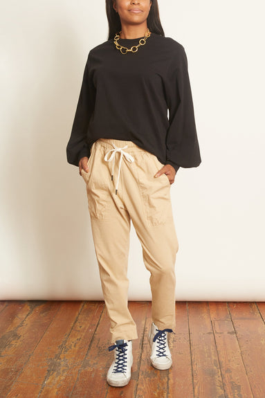 Jersey Voluminous Sleeve Top in Black