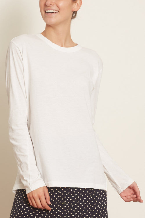 Slouch Contrast Long Sleeve T-Shirt in White