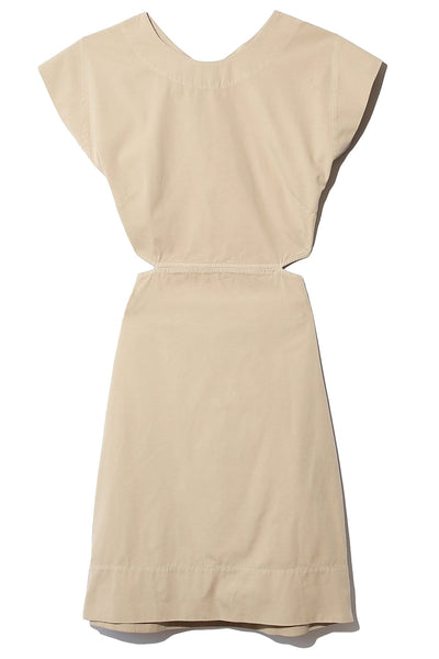 Washed Canvas Cut Out Dress in Tan
