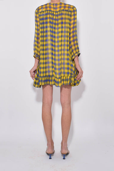Adare Dress in Golden Blue Check