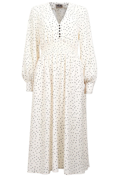 Adison Dress in Creme/Black Flying Dots