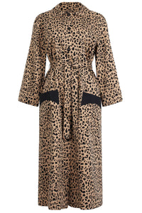 Anny Dress in Beige Black Leopard