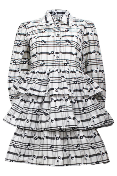 Anya Dress in White/Black Blossom Check