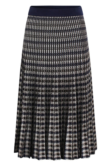 Cyrilla Skirt in Brown Blue Houndstooth