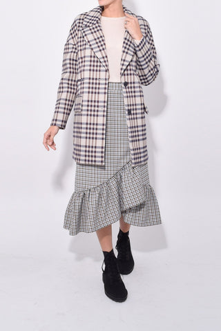 Dilone Jacket in Beige Blue Brown Check