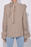 Moya Top in Brown Check