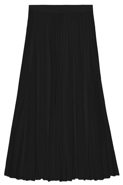 Pleated Elastic Waistband Skirt in Black
