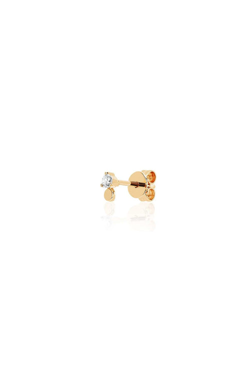 Single Gold Disc with Prong Set Diamond Stud Earring in Yellow Gold