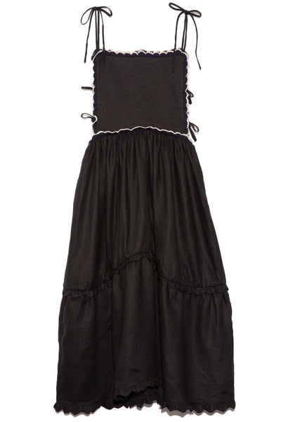 Ramya Midi Linen Dress in Black