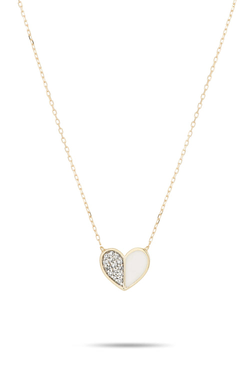 White Ceramic Pave Folded Heart Necklace in Yellow Gold