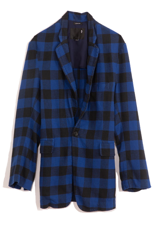 Ragged Blazer in Blue/Black Plaid
