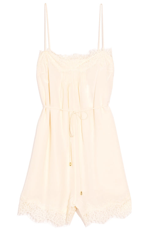 Lace Playsuit in Pearl