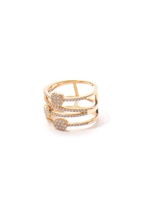 14K Gold Three Station Ring