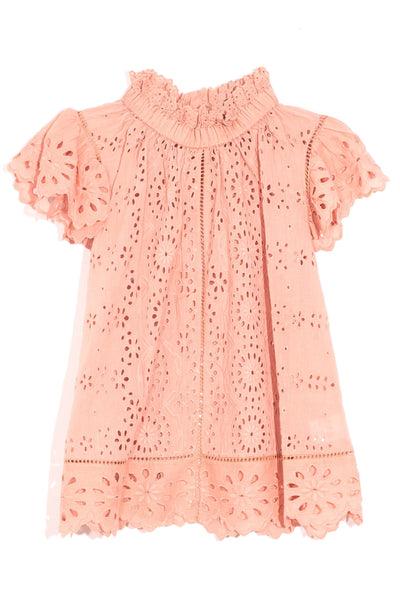 Daisy Flutter Sleeve Top in Pink