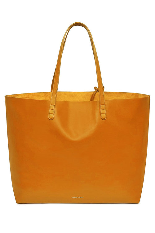 Lambskin Oversized Tote in Orange