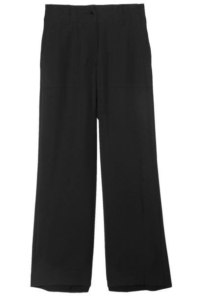Solid Satin Pants in Black