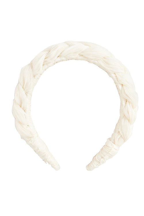 Lilac Pleated Braid Headband in Pearl