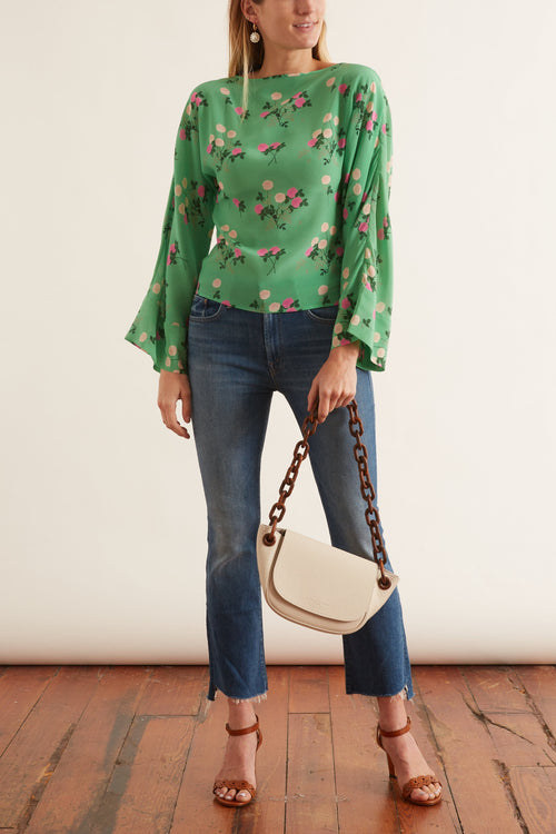 Gemma Silk Crepe De Chine Top in Floral Pink/Green