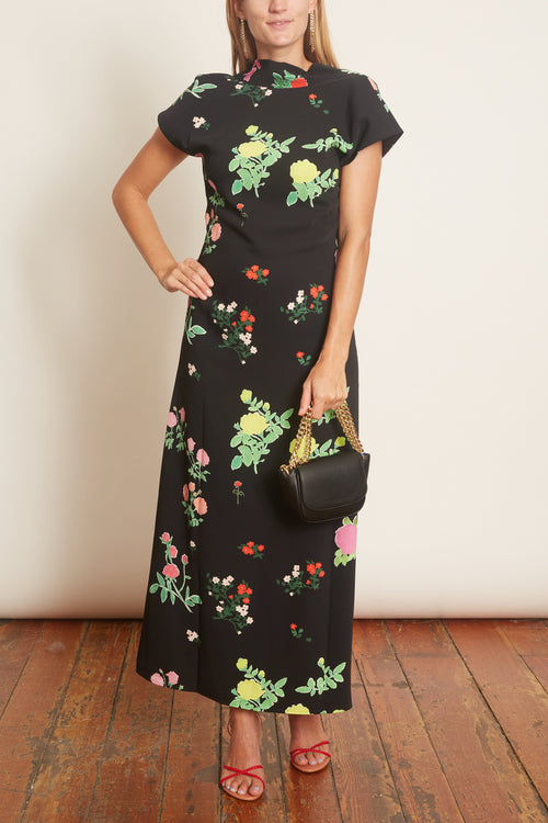 Valentine Crepe Dress in Multicolor Black