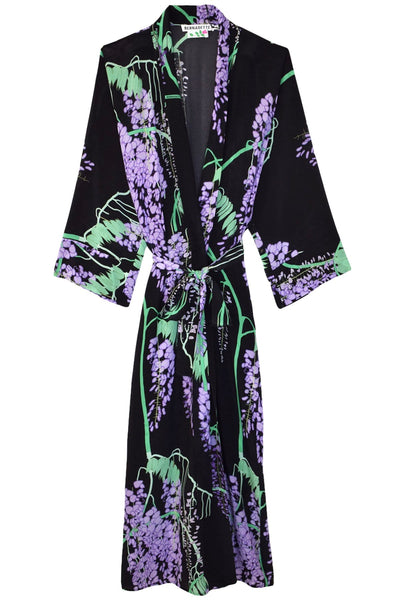 Peignoir Silk Crepe De Chine Coat in Black Wisteria