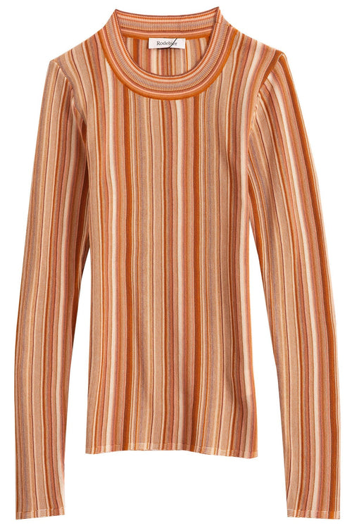 Vala Stripe Top in Faded Terracotta