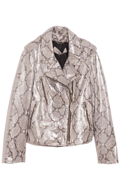 Madison Leather Jacket in Silver Python