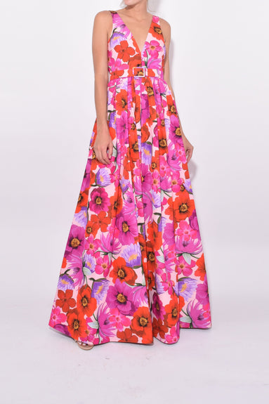 Isabella V-Neck Gown in Frida/Fuschia
