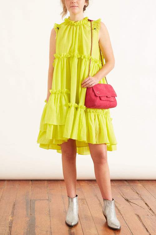 Evelyn Dress in Flouro Yellow