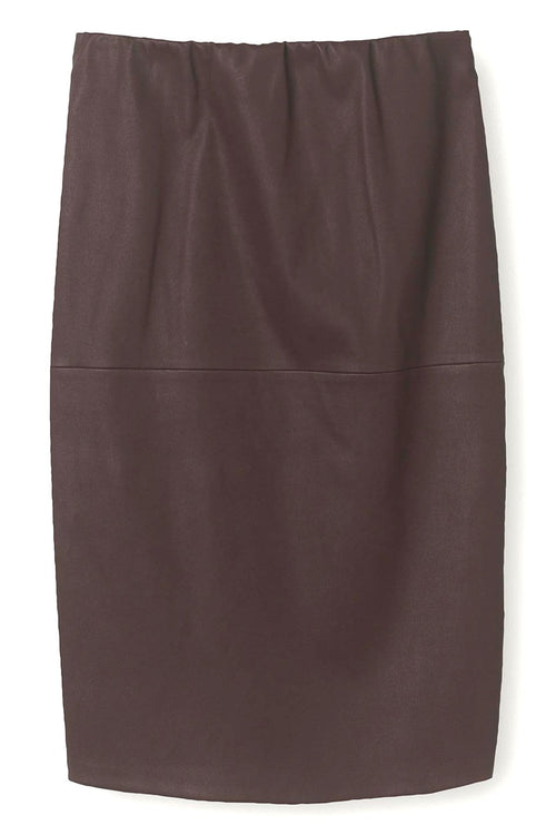 Floridia Leather Skirt in Warm Brown
