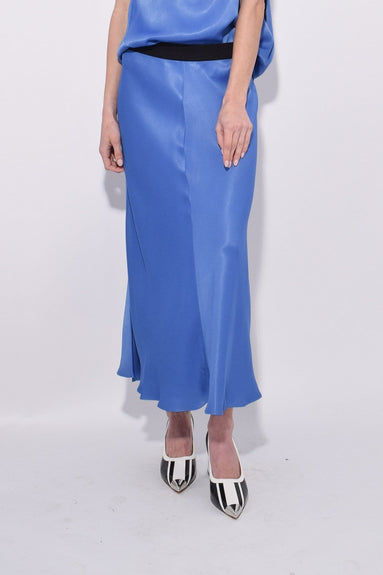 Satin Skirt in Vintage Blue