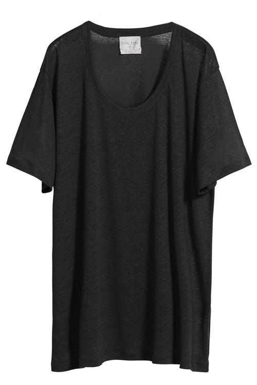 Linen Jersey Over T-Shirt in Nero