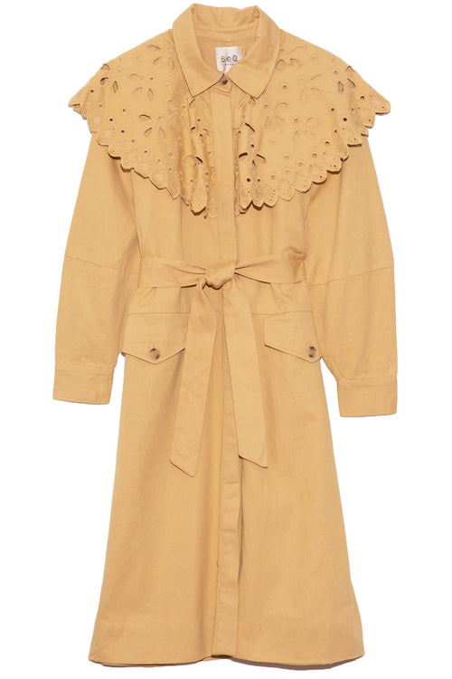Hazel Eyelet Trench Coat in Camel